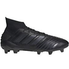 Adidas Predator 19.1 FG Leather Soccer Cleats (Core Black/Utility Black)