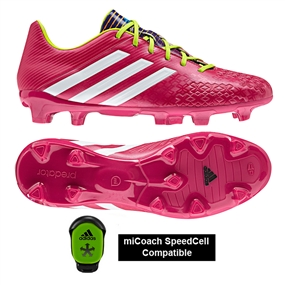 Adidas Predator Absolado LZ TRX FG Soccer Cleats (Vivid Berry/Running White/Solar Slime) - mi Coach Compatible (Sold Seperately)