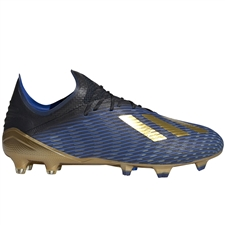 Adidas X 19.1 FG Soccer Cleats (Core Black/Gold Metallic/Football Blue)