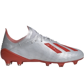 Adidas X 19.1 FG Soccer Cleats (Silver Metallic/Hi-Res Red/White)