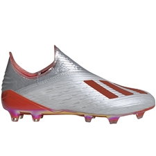Adidas X 19+ FG Soccer Cleats (Silver Metallic/Hi-Res Red/White)