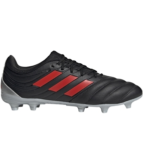 Adidas Copa 19.3 FG Soccer Cleats (Core Black/Hi-Res Red/Silver Metallic)