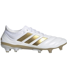 Adidas Copa 19.1 FG Soccer Cleats (White/Gold Metallic/Football Blue)