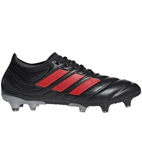 Adidas Copa 19.1 FG Soccer Cleats (Core Black/Hi-Res Red/Silver Metallic)