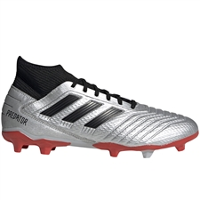 Adidas Predator 19.3 FG Soccer Cleats (Silver Metallic/Core Black/Hi-Res Red)