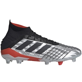 Adidas Predator 19.1 FG Soccer Cleats (Silver Metallic/Core Black/Hi-Res Red)