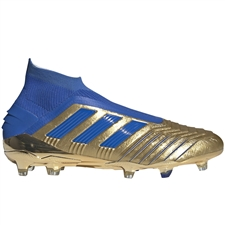 Adidas Predator 19+ FG Soccer Cleats (Gold Metallic/Football Blue/White)