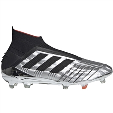Adidas Predator 19+ FG Soccer Cleats (Silver Metallic/Core Black/Hi-Res Red)