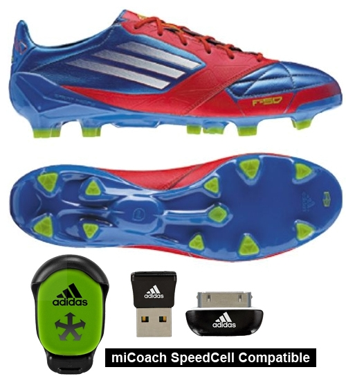 Adidas F50 adizero (Leather) TRX FG Soccer Cleats (Prime Blue/Core Energy