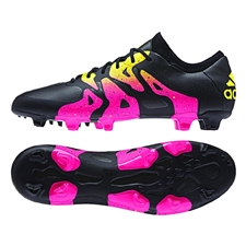 Adidas X 15.1 FG/AG Soccer Cleats (Black/Shock Pink/Solar Gold)