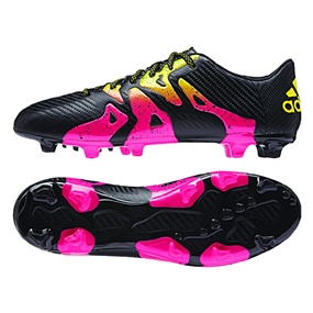 Adidas X 15.3 FG/AG Soccer Cleats (Black/Shock Pink/Solar Gold)