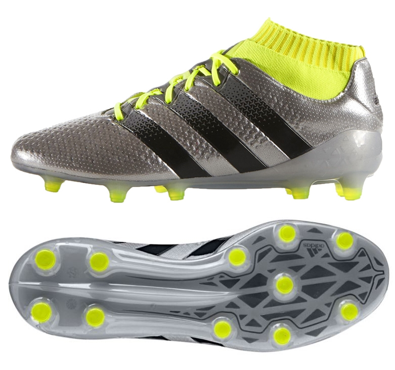 promo code d5575 25349 Adidas ACE 16.1 Primeknit FG Soccer Cleats (Silver Metallic/Black/Yellow)