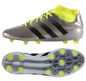 Adidas ACE 16.1 Primeknit FG Soccer Cleats (Silver Metallic/Black/Yellow) | Adidas Soccer Cleats |FREE SHIPPING| Adidas S76469 | SoccerCorner.com