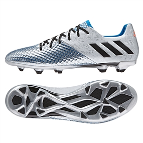Adidas Messi 16.2 FG Soccer Cleats (Silver Metallic/Black/Shock Blue)