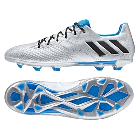 Adidas Messi 16.3 FG Soccer Cleats (Silver Metallic/Black/Shock Blue)