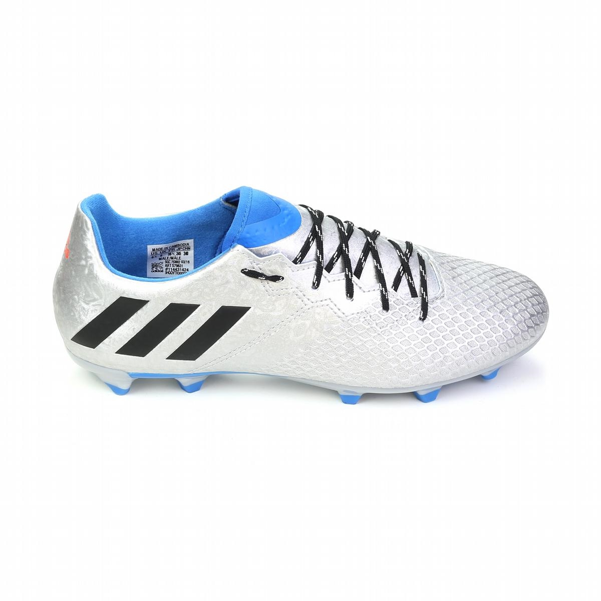 008807370f5  71.99 - Adidas Messi 16.3 FG Soccer Cleats (Silver Metallic Black ...