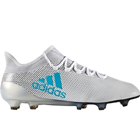 Adidas X 17.1 FG Soccer Cleats (White/Energy Blue/Clear Grey)