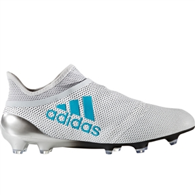 Adidas X 17+ PureSpeed FG Soccer Cleats (White/Energy Blue/Clear Grey)