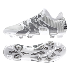 Adidas X 15.1 FG/AG Soccer Cleats (White/Black/Silver Metallic)