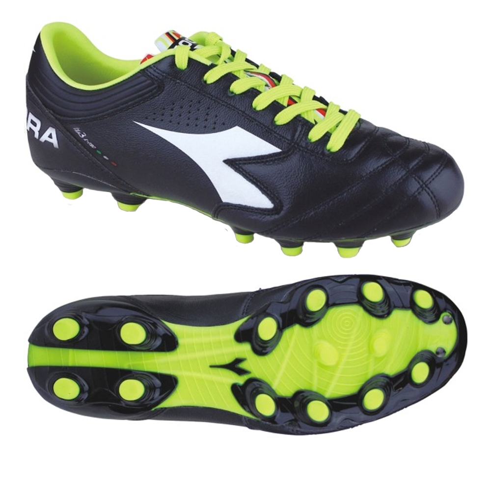 detailed pictures d90b1 88aeb Diadora Italica 3 K-Pro MG 14 FG Soccer Cleats (Black/Yellow)