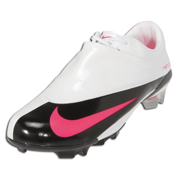 Nike Mercurial Vapor V Firm Ground Soccer Cleats (White/Pink /Black/MtlcSilver