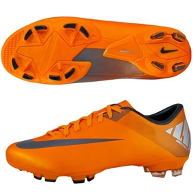 Nike Mercurial Victory II FG Soccer Cleats (Orange Peel Metallic Silver Volt   7f5475111202