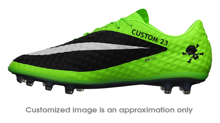 Nike Hypervenom Phantom FG CUSTOM Soccer Cleats (Flash Lime/White/Black)
