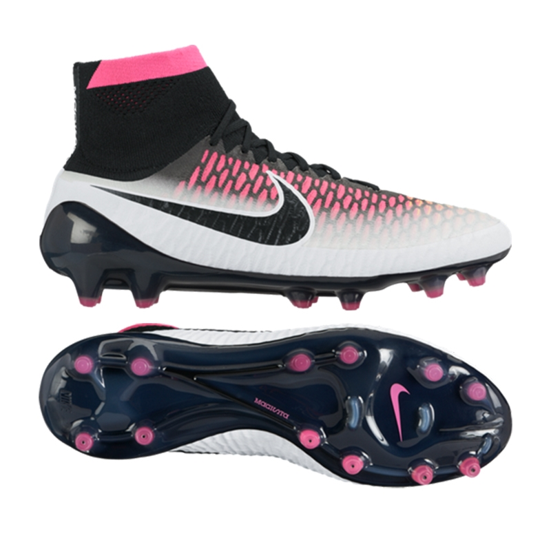 nike pink and white cleats magista
