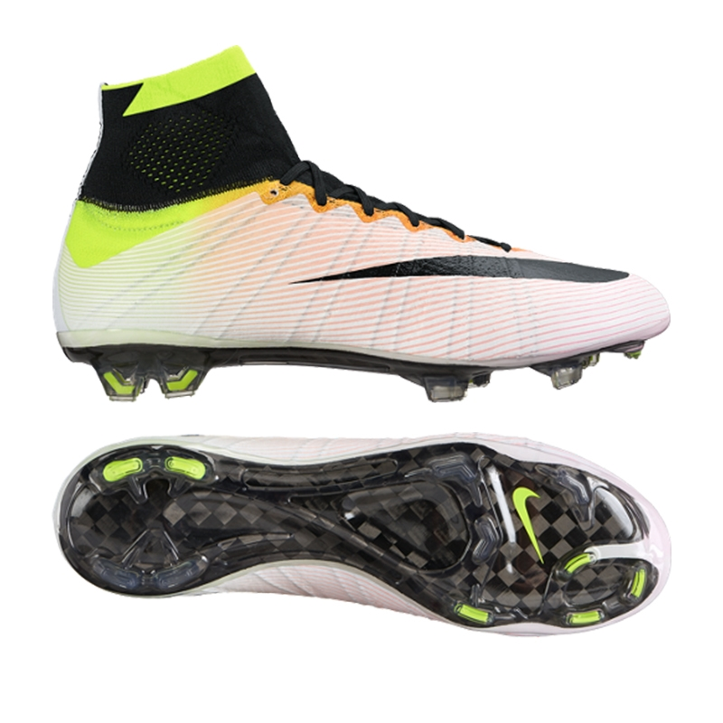 Nike Mercurial SuperFly IV FG Soccer Cleats (White/Volt/Total Orange/Black