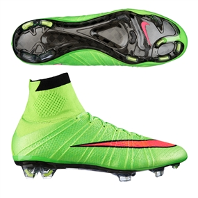 competitive price 389b4 b5123 Nike Mercurial SuperFly IV Soccer Cleats (Electric Green Volt Black Hyper  Punch