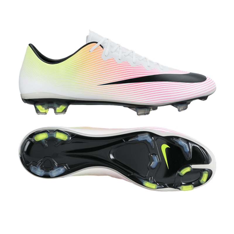 2258c79b704432 Mercurial Vapor X FG Soccer Cleats (White Volt Total Orange Black ...