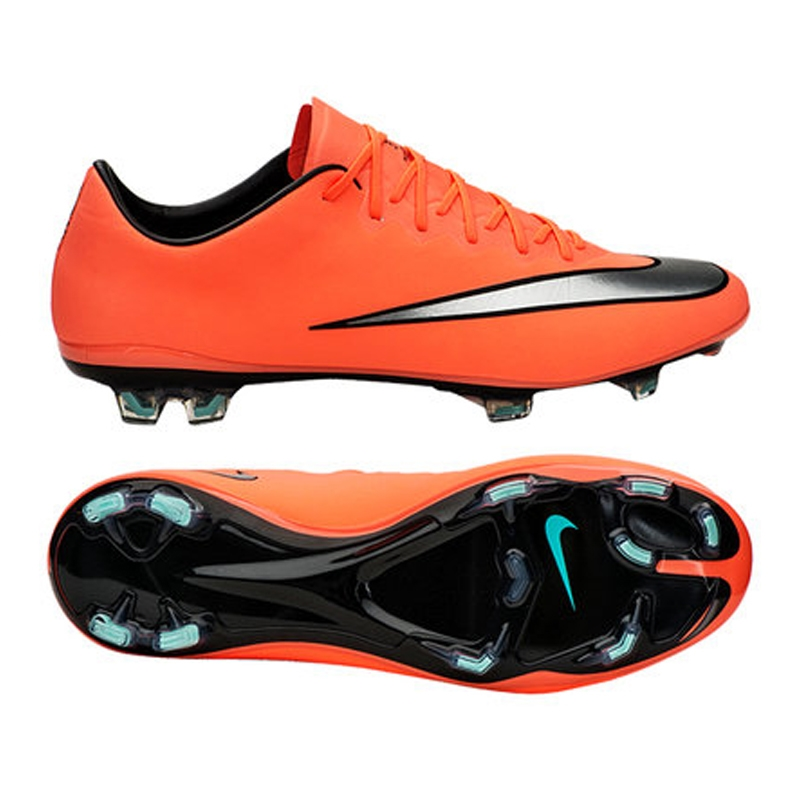 Nike Mercurial Vapor X FG Soccer Cleats (Bright Mango/Hyper Turquoise/Metallic  Silver