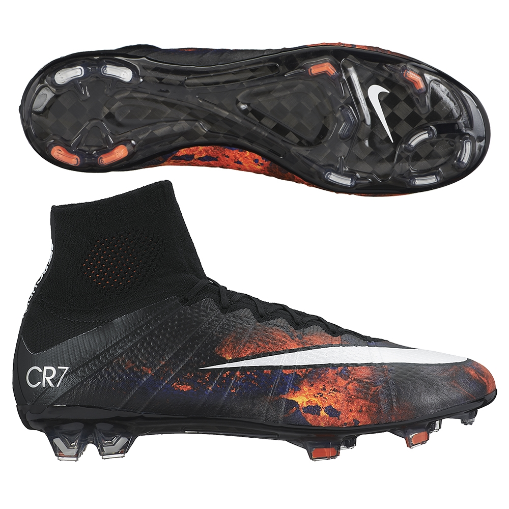 Nike Mercurial SuperFly IV CR7 FG Soccer Cleats (Black/Total Crimson/Vivid  Purple