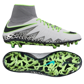 Nike Hypervenom Phantom II FG Soccer Cleats (Pure Platinum/Black/Ghost Green)