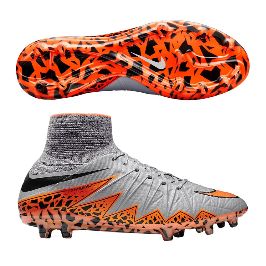 1420a0165 Hypervenom Phantom II FG Soccer Cleats (Wolf Grey Total Orange Black ...