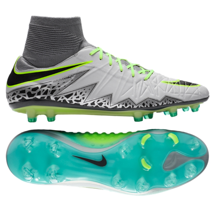 Nike Hypervenom Phatal II DF FG Soccer Cleats (Pure Platinum/Black/Ghost  Green