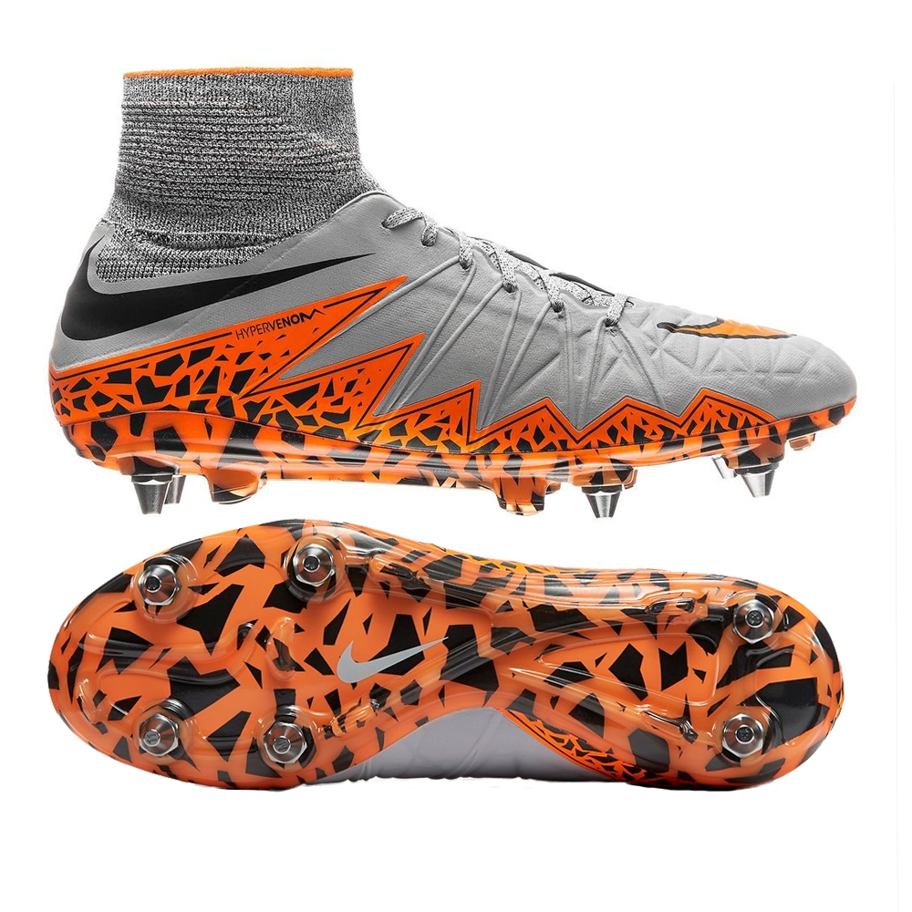 more photos d7e00 079f3 Nike Hypervenom Phantom II SG-Pro Soccer Cleats (Wolf Grey/Orange)