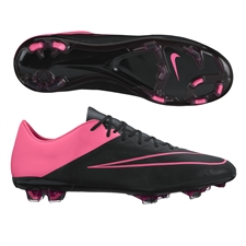 Nike Mercurial Vapor X Tech Craft (Leather) FG Soccer Cleats (Black/Hyper Pink)