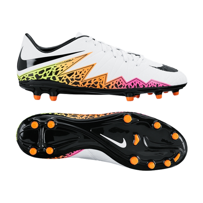 03d087bcd1c773 Hypervenom Phelon II FG Soccer Cleats (White Total Orange Volt Black ...