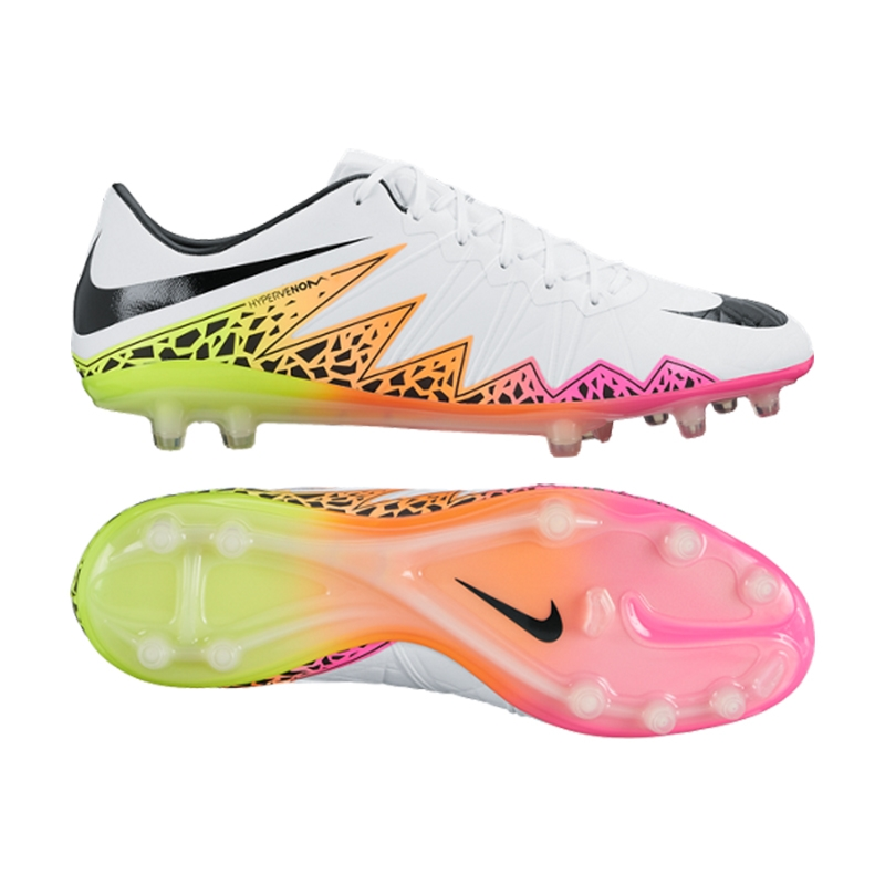Nike Hypervenom Phinish FG Soccer Cleats (White/Total Orange/Volt/Black)