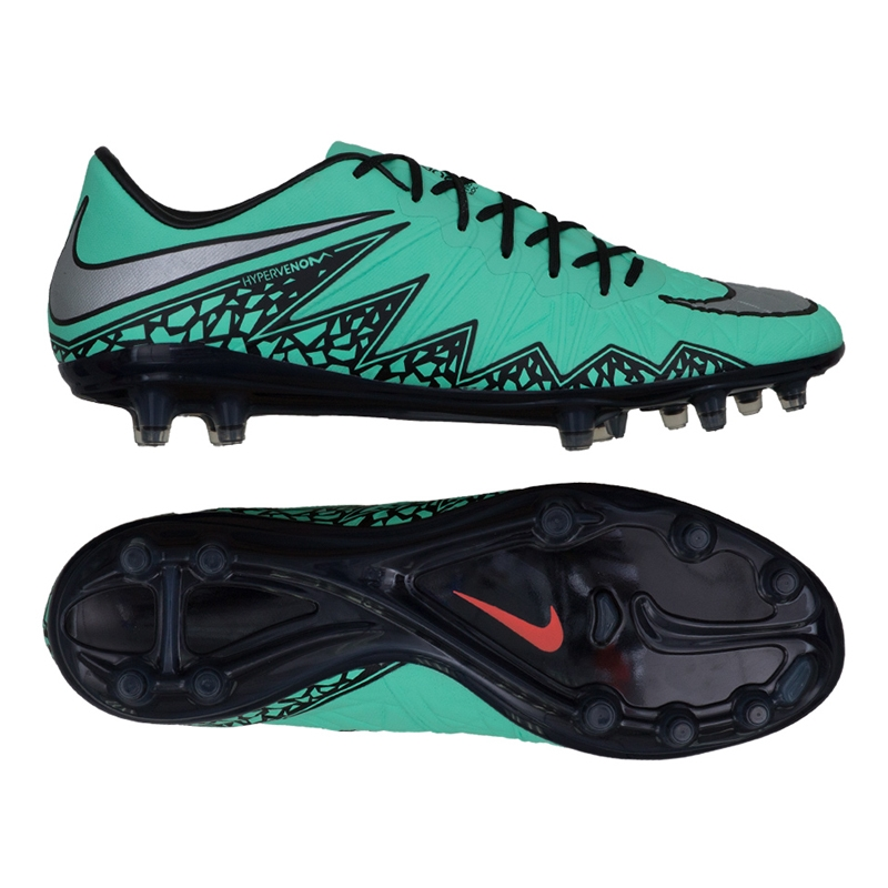 Nike Hypervenom Phinish FG Soccer Cleats (Green Glow/Hyper Orange/Metallic  Silver)