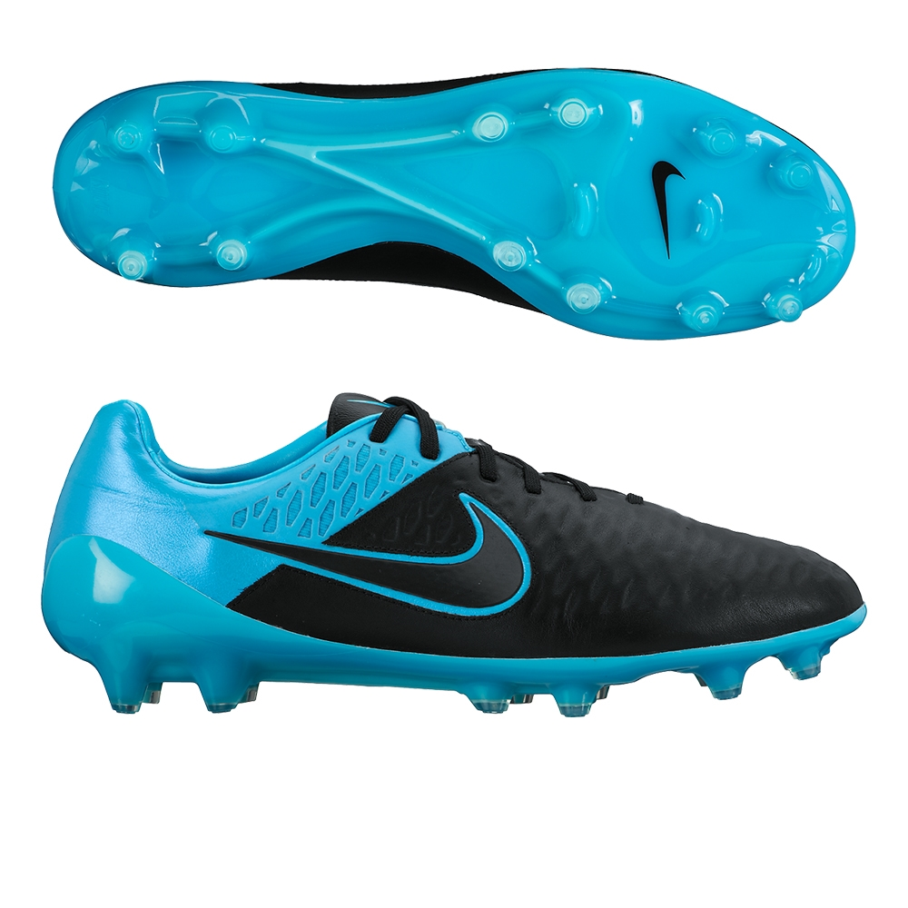 Men Nike Magista Opus Leather FG'Soccer Shoes' Black/Turquoise Blue/Black Model UK2003