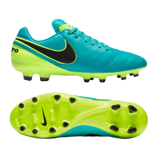 9a2db1c6eed7 Nike Tiempo Genio II Leather FG Soccer Cleats (Clear Jade Black Volt ...