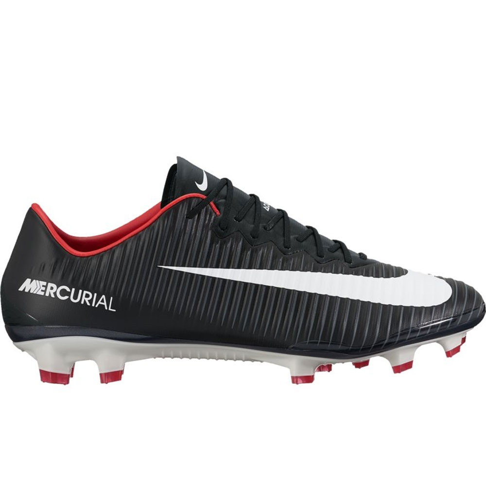 Nike Mercurial Vapor XI FG Soccer Cleats (Black/White/Dark Grey)