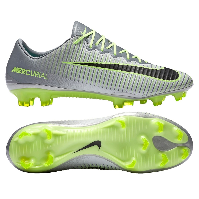 hot sale huge inventory online here Nike Mercurial Vapor XI FG Soccer Cleats (Pure Platinum/Black/Ghost Green)