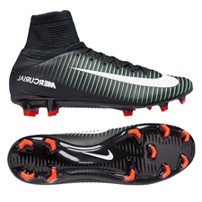 Nike Mercurial Veloce III FG Soccer Cleats (Black/White/Electric Green)