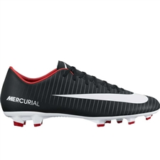 Nike Mercurial Victory VI FG Soccer Cleats (Black/White/Dark Grey/University Red)