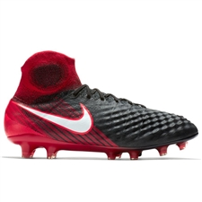 Nike Magista Obra II FG Soccer Cleats (Black/White/University Red)