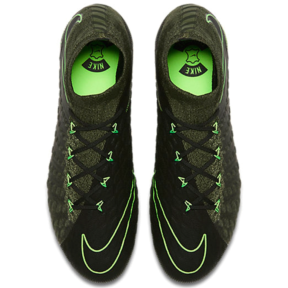 Nike Hypervenom Phantom III DF Tech Craft FG Soccer Cleats Black Electric  Green Sequoia Palm