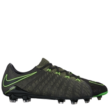 Nike Hypervenom Phantom III Tech Craft FG Soccer Cleats (Black/Electric Green/Sequoia/Palm Green)